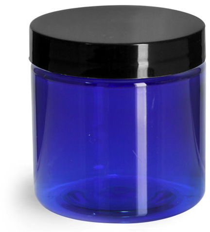 Blue PET Straight Sided Jars w/ Black Smooth Plastic Lined Caps