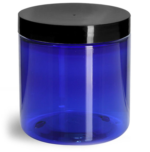 8 oz Blue PET Straight Sided Jars w/ Black Smooth Plastic Lined Caps