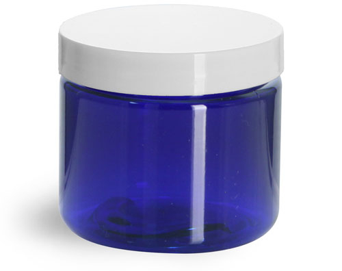 2 oz Blue PET Straight Sided Jars w/ White Smooth Plastic Lined Caps