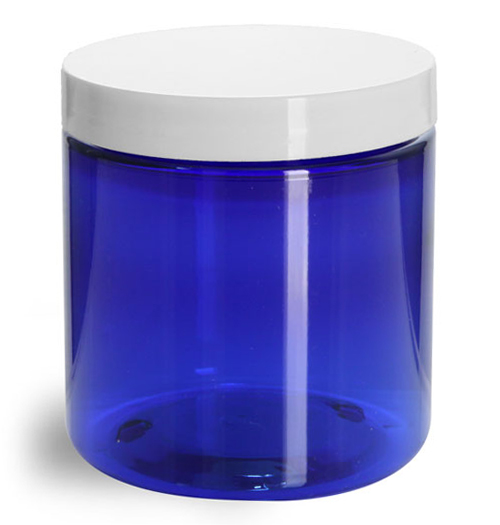 8 oz Blue PET Straight Sided Jars w/ White Smooth Plastic Lined Caps