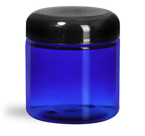 4 oz Plastic Jars, Blue PET Straight Sided Jars w/ Black Dome Lined Caps