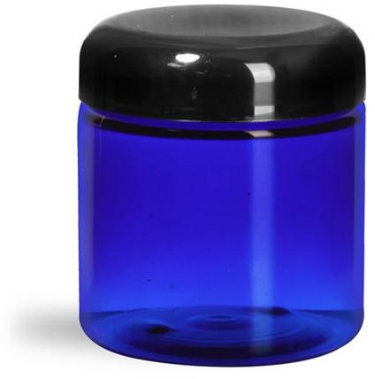 Plastic Jars, Blue PET Straight Sided Jars w/ Black Dome Lined Caps