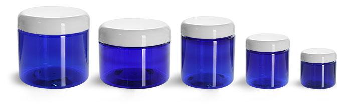 16 oz  PET Plastic Jars, Blue Straight Sided Jars w/ White Dome Lined Caps