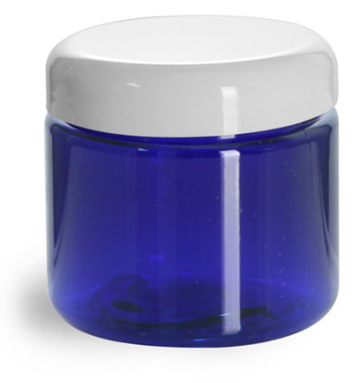 PET Plastic Jars, Blue Straight Sided Jars w/ White Dome Lined Caps