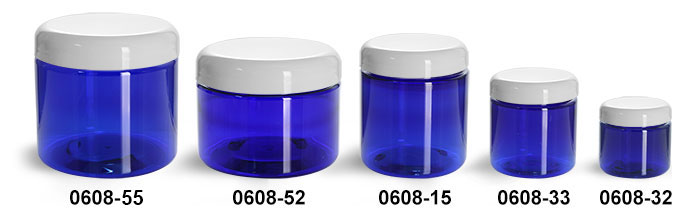 Plastic Jars, Blue PET Straight Sided Jars w/ White Dome Lined Caps