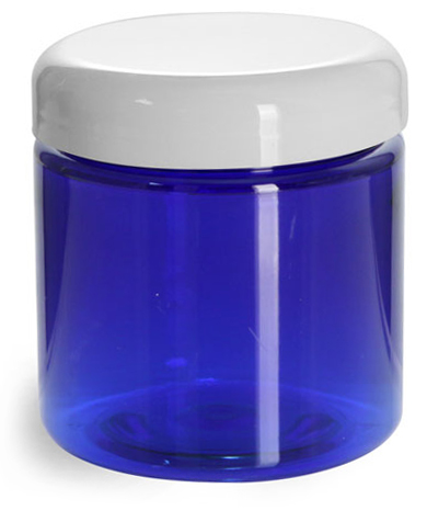 4 oz PET Plastic Jars, Blue Straight Sided Jars w/ White Dome Lined Caps