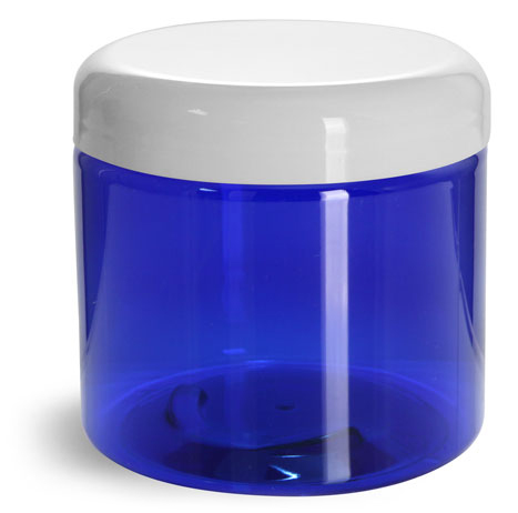 16 oz PET Plastic Jars, Blue Straight Sided Jars w/ White Dome Lined Caps