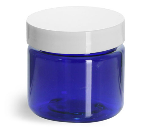 1 oz Blue PET Straight Sided Jars w/ White Smooth Plastic Lined Caps