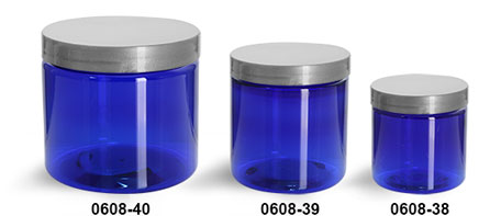 Plastic Jars, Blue PET Straight Sided Jars w/ Silver Smooth Lined Caps