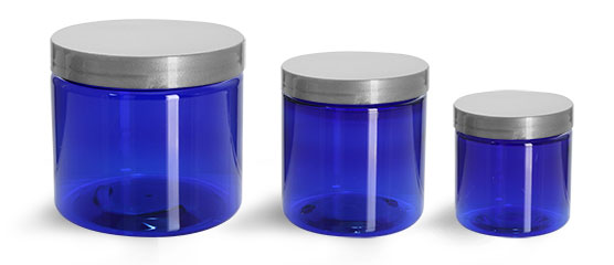 PET Plastic Jars, Blue Straight Sided Jars w/ Silver Smooth Lined Caps