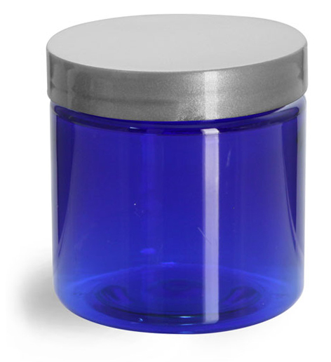 4 oz Blue PET Straight Sided Jars w/ Silver Smooth Lined Caps