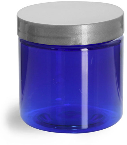 Blue PET Straight Sided Jars w/ Silver Smooth Lined Caps