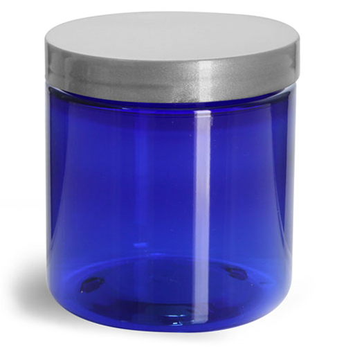 8 oz Blue PET Straight Sided Jars w/ Silver Smooth Lined Caps