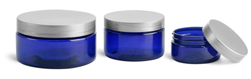 PET Plastic Jars, Blue Heavy Wall Jars w/ Silver Smooth F217 Lined Caps