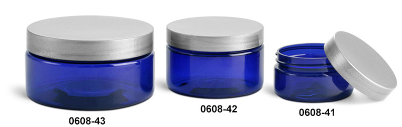 Plastic Jars, Blue PET Heavy Wall Jars w/ Silver Smooth F217 Lined Caps