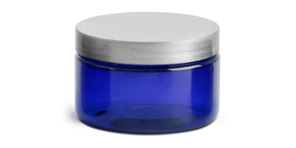 4 oz Blue PET Heavy Wall Jars w/ Silver Smooth PE Lined Caps