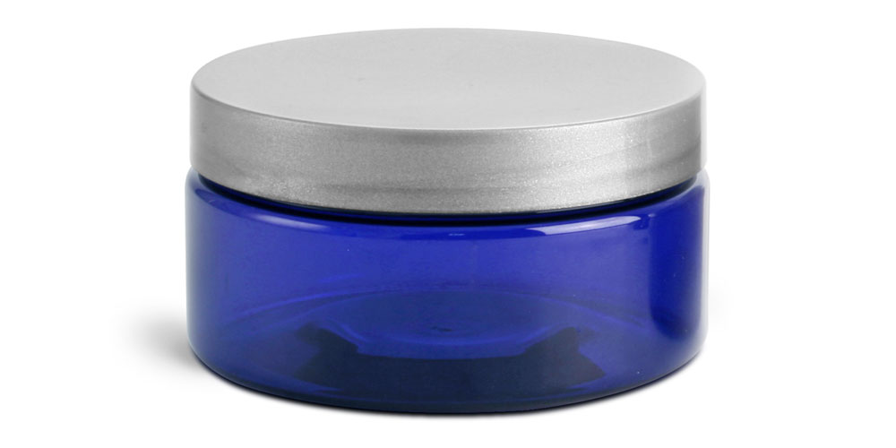 8 oz Blue PET Heavy Wall Jars w/ Silver Smooth PE Lined Caps
