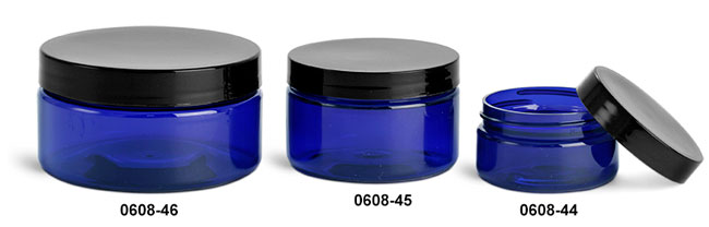 Plastic Jars, Blue PET Heavy Wall Jars w/ Black Smooth Lined Caps