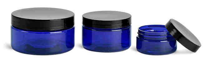 PET Plastic Jars, Blue Heavy Wall Jars w/ Black Smooth F217 Lined Caps
