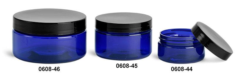 Plastic Jars, Blue PET Heavy Wall Jars w/ Black Smooth Lined Caps
