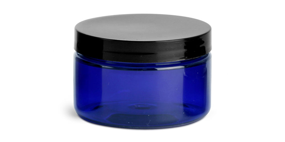 4 oz Blue PET Heavy Wall Jars w/ Black Smooth F217 Lined Caps
