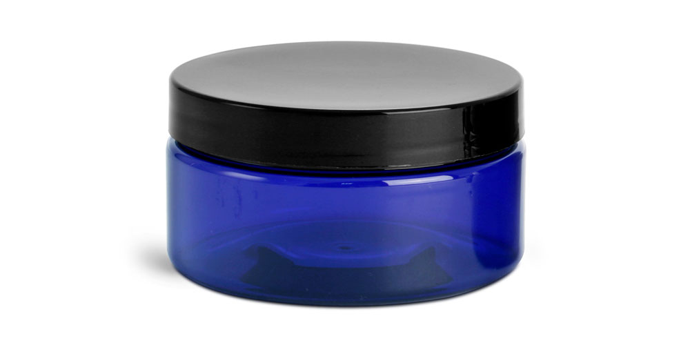 8 oz Blue PET Heavy Wall Jars w/ Black Smooth F217 Lined Caps