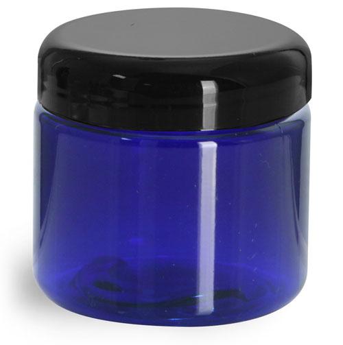 2 oz Plastic Jars, Blue PET Straight Sided Jars w/ Black Dome Lined Caps