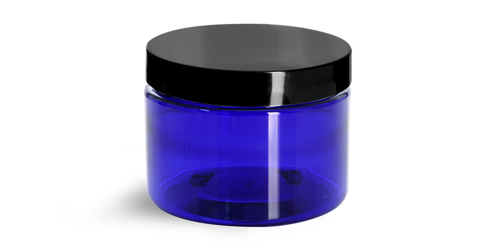 12 oz Blue PET Straight Sided Jars w/ Black Smooth Caps