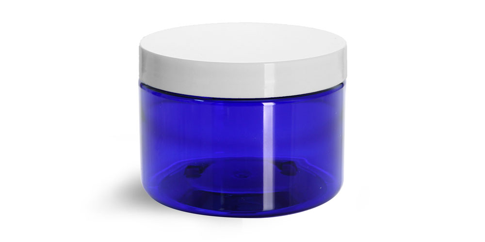 12 oz Blue PET Straight Sided Jar w/ White Smooth Plastic Cap