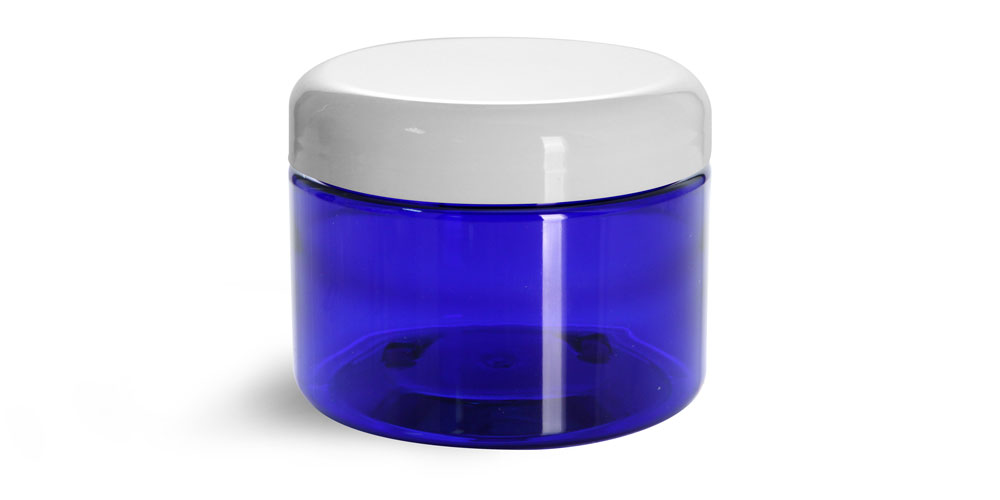 12 oz  PET Plastic Jars, Blue Straight Sided Jars w/ White Dome Lined Caps