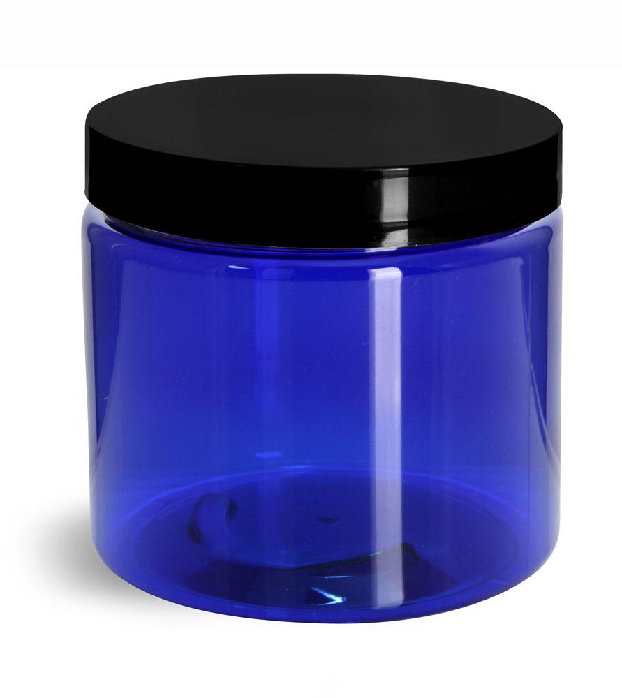 16 oz PET Plastic Jars, Blue Straight Sided Jars w/ Black Smooth Plastic Lined Caps