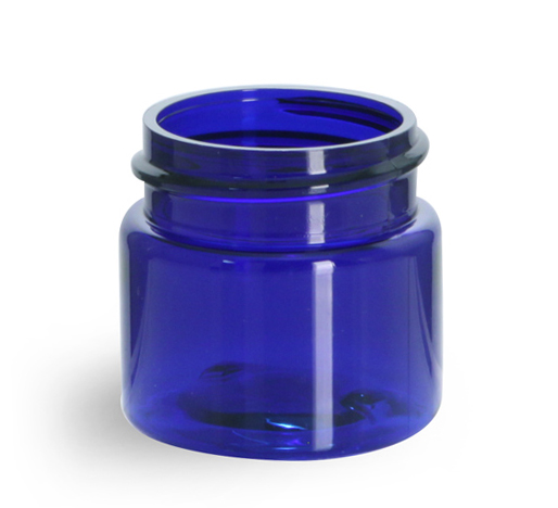 1/2 oz Blue PET Straight Sided Jars (Bulk), Caps Not Included