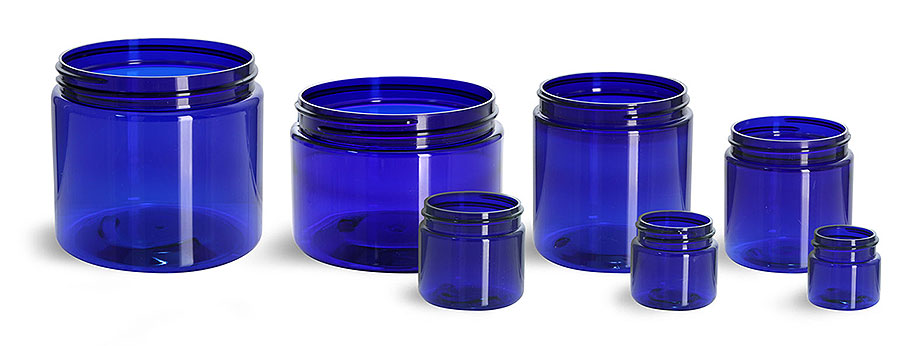 Plastic Jars, Blue PET Straight Sided Jars (Bulk) Caps Not Included