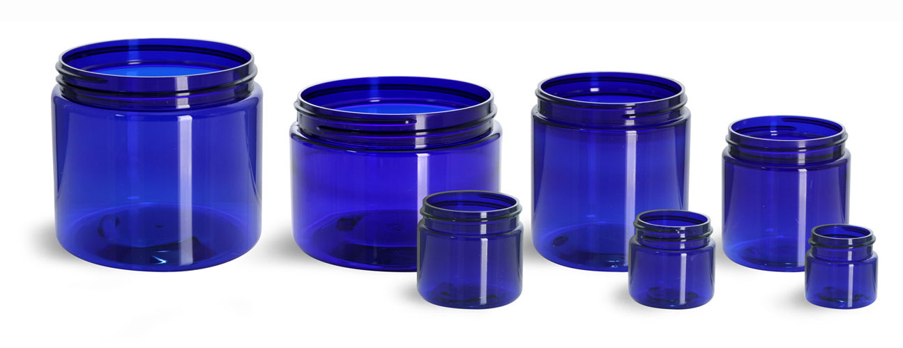 PET Plastic Jars, Blue Straight Sided Jars (Bulk), Caps Not Included