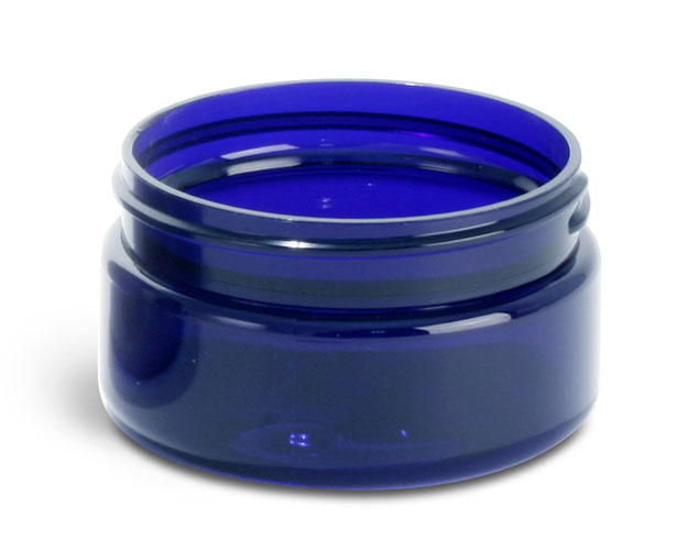 2 oz Blue PET Heavy Wall Jars (Bulk), Caps Not Included