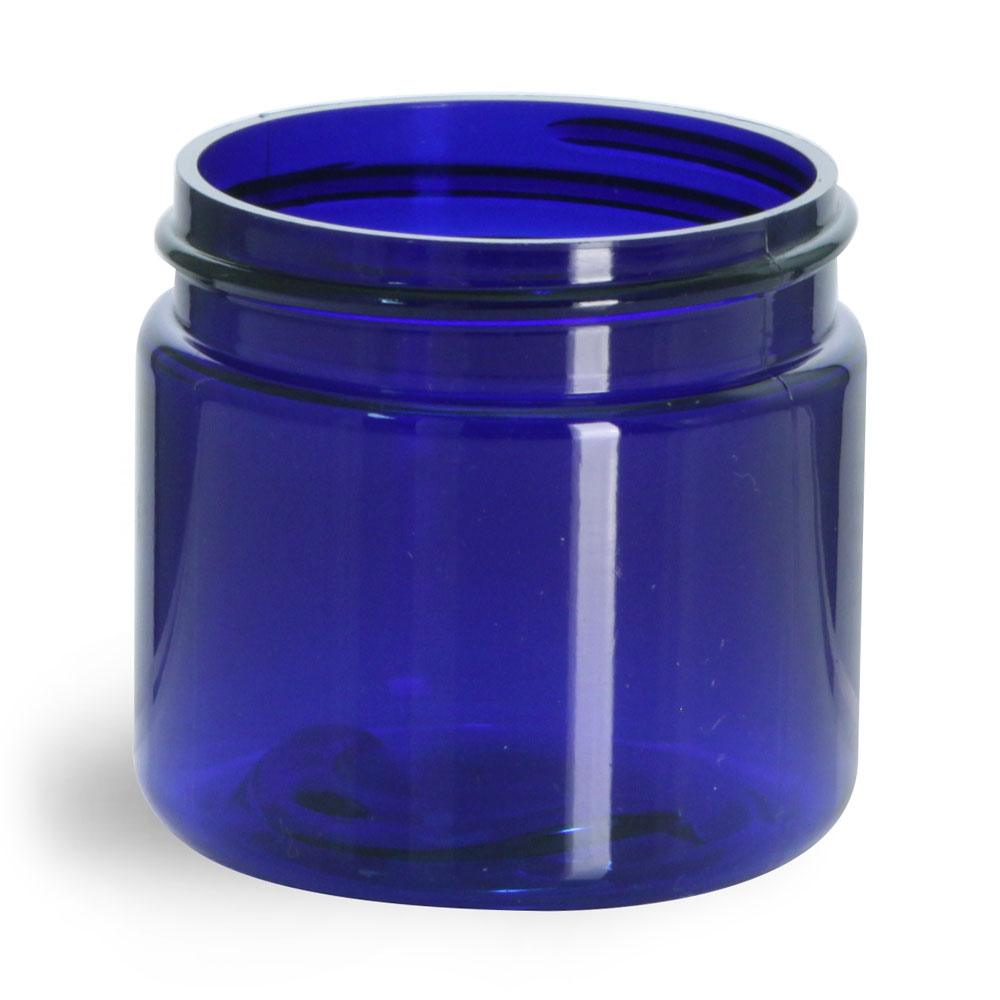 2 oz Blue PET Straight Sided Jars (Bulk), Caps Not Included