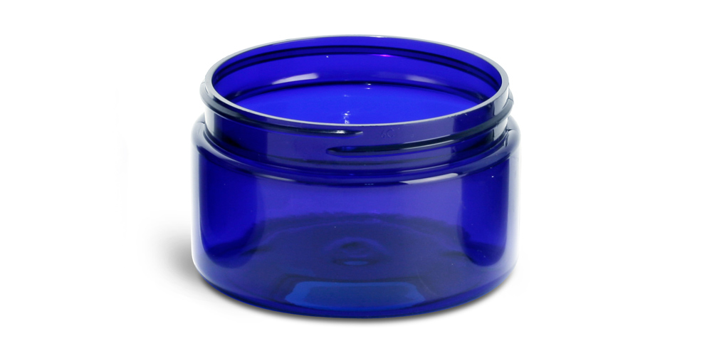 4 oz Blue PET Heavy Wall Jars (Bulk), Caps Not Included