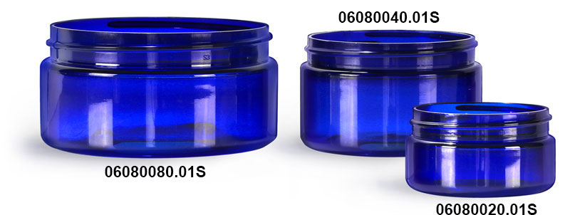 Plastic Jars, Blue PET Heavy Wall Jars (Bulk) Caps Not Included
