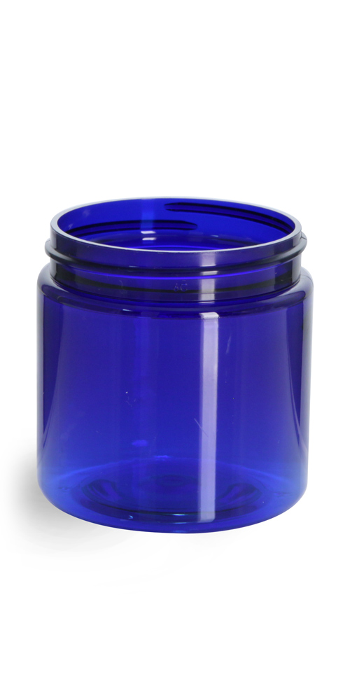 4 oz Blue PET Straight Sided Jars (Bulk), Caps Not Included