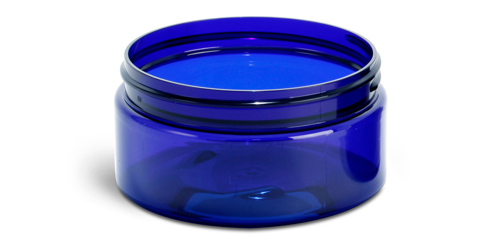 8 oz Blue PET Heavy Wall Jars (Bulk), Caps Not Included
