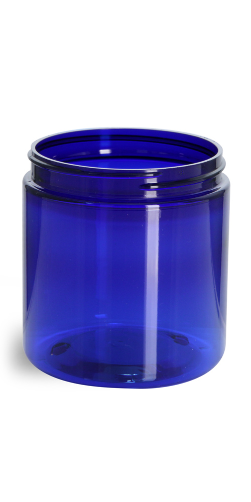 8 oz Blue PET Straight Sided Jars (Bulk), Caps Not Included