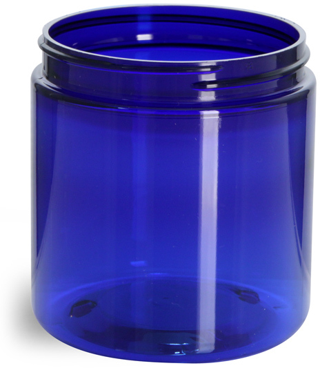 Blue PET Straight Sided Jars (Bulk), Caps Not Included