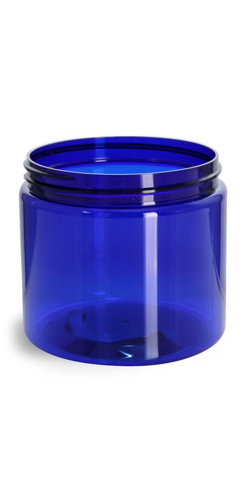 16 oz Blue PET Straight Sided Jars (Bulk), Caps Not Included