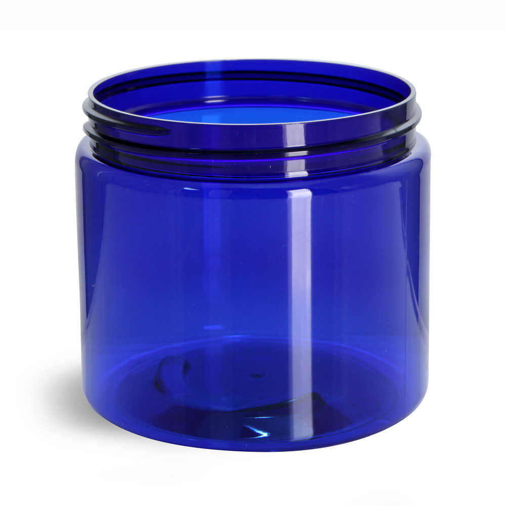 16 oz PET Plastic Jars, Blue Straight Sided Jars (Bulk), Caps Not Included