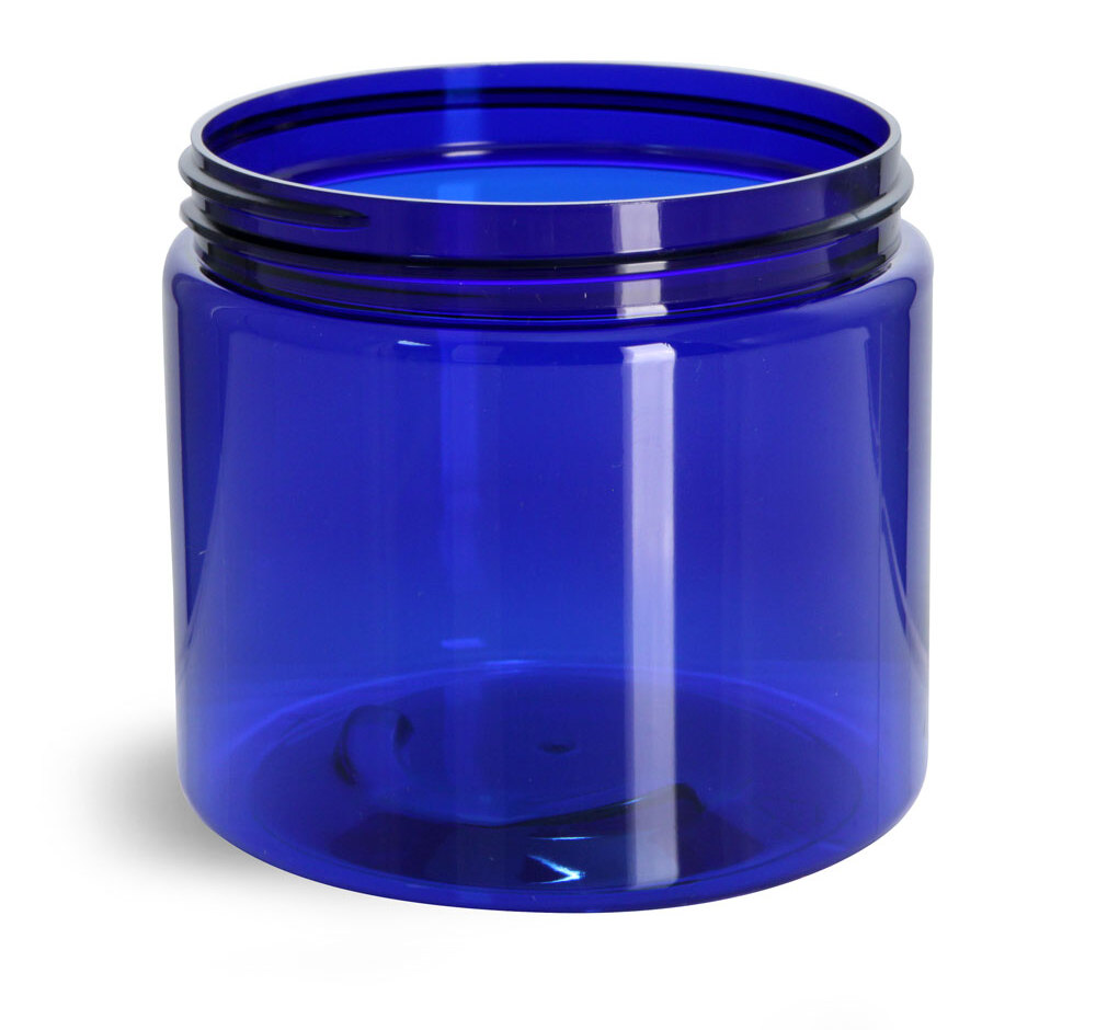 PET Plastic Jars, Blue Straight Sided Jars (Bulk), Caps Not Included