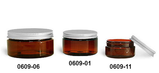 Plastic Jars, Amber PET Heavy Wall Jars w/ Lined Aluminum Caps