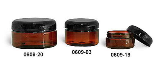 Plastic Jars, Amber PET Heavy Wall Jars w/ Lined Black Dome Caps