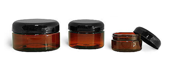 PET Plastic Jars, Amber Heavy Wall Jars w/ Lined Black Dome Caps