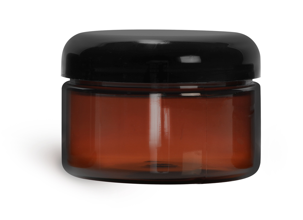 4 oz Plastic Jars, Amber PET Heavy Wall Jars w/ Lined Black Dome Caps
