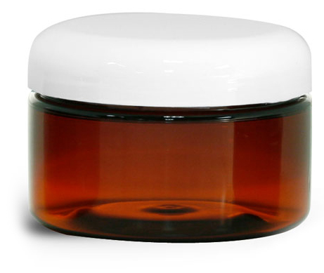4 oz Plastic Jars, Amber PET Heavy Wall Jars w/ Lined White Dome Caps